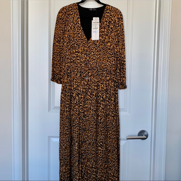 f179efff Zara Dresses | Animal Print Buttonup Midi Dress Nwt | Poshmark